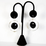Sterling Silver Handmade earrings Large Onyx Stone
