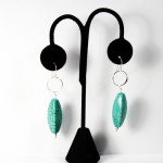 Sterling Silver earrings circle w/long turquoise hanging