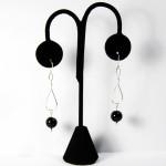 Sterling Silver earrings twist/drop w/black onyx