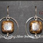 Sterling Silver Handmade Earring with Metallic Gold & Brown