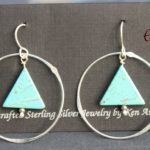 Sterling Silver Handmade Earrings with Triangle Turquoise