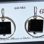 Gold Filled Handmade earrings onyx