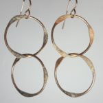 Gold Filled Handmade earrings thick two long circles