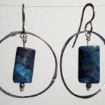 Sterling Silver Handmade earrings with blue sea agate