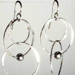 Sterling Silver Handmade earrings large circle multiple SS bead two long
