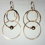 Gold Filled Handmade earrings large circle multiple GF bead two long