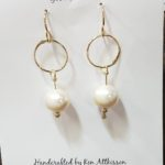 14K Gold Filled Handmade earrings circle with pearl drop